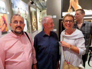 During opening Exhibition 20 x 20 of Galería ArteLibre at the MEAM Museum in Barcelona on July 12th 2019. With José Manuel Infiesta, director MEAM and José Enrique Gonzalez, director ArteLibre