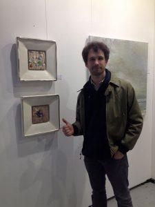 Italian colleague Simon Pasini in front of my work at the Affordable Art Fair in Milan (Gallery Terbeek), 2015