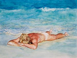 Washed ashore I/Mexican Blues, watercolour 19x28cm (1997) - Sold