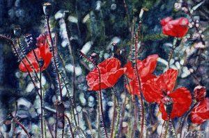 Amapolas en las dunas (1998), watercolour 16 x 24 cm - Sold