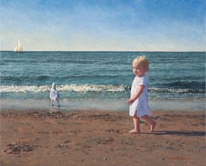 Britt in Noordwijk/North Sea Blues (2005, by commission), oil on linen, 54 x 66 cm - Sold