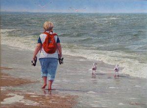 Anneke in Wassenaar/North Sea Blues, oil on linen 55 x 75 cm (2020, by commission) - Sold