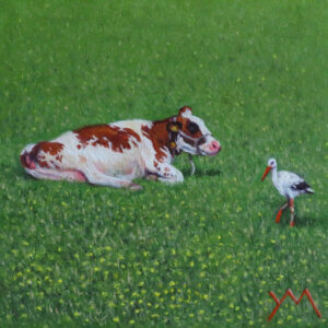 The Cow and the Stork, oil on pamel 14x14cm Euro 425 (available at Museum Møhlmann/The Netherlands frm August 8th 2021)