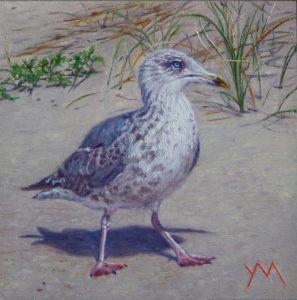 The Adolescent/North Sea beach, oil on panel 15 x 15 cm € 595