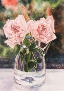 Marion's roses (1997), watercolour 16,5 x 12 cm - In a private collection