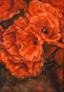 Poppies (1997), watercolour 13,5 x 9,5 cm - Sold