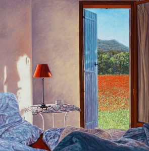 Yvonne Melchers Room with a View/Spring in Provence, oil on linen, 40 x 40 cm - Euro 2450 - A digitized version of this painting is going to be launched to the moon in January 2022, see my news page!