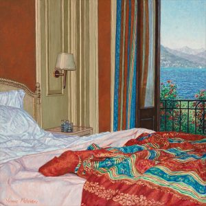 Yvonne Melchers Room with a View/Summer in Stresa, oil on linen, 40 x 40 cm (2012)- Sold