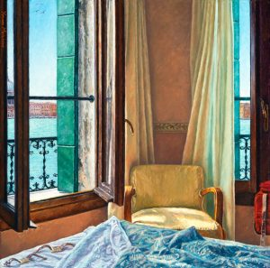 Yvonne Melchers Room with a View/Summer in Venice, oil on linen, 40 x 40 cm - Euro 2450