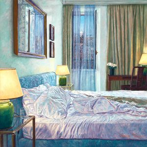 Yvonne Melchers Room with a View/Winter in Rome, oil on linen, 40 x 40 cm (2013)- Sold