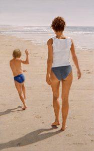 Summer Stroll/North Sea Blues (2001), oil on linen 60 x 95 cm - Sold