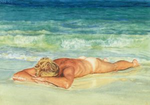 Washed ashore II/Mexican Blues &Greens, watercolour 21x31cm (1998) - Sold