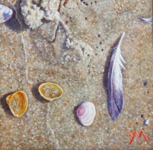 Washed Ashore/North Sea Beach III (2013), oil on panel, 15 x 15 cm - Euro 450 (currently available at Gallery Rijlaarsdam, The Netherlands)
